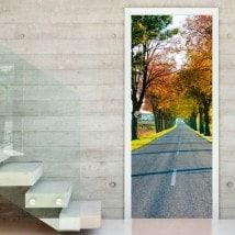 Vinyle portes route et arbres automne