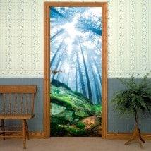 Forêt magique de portes vinyle décoratif