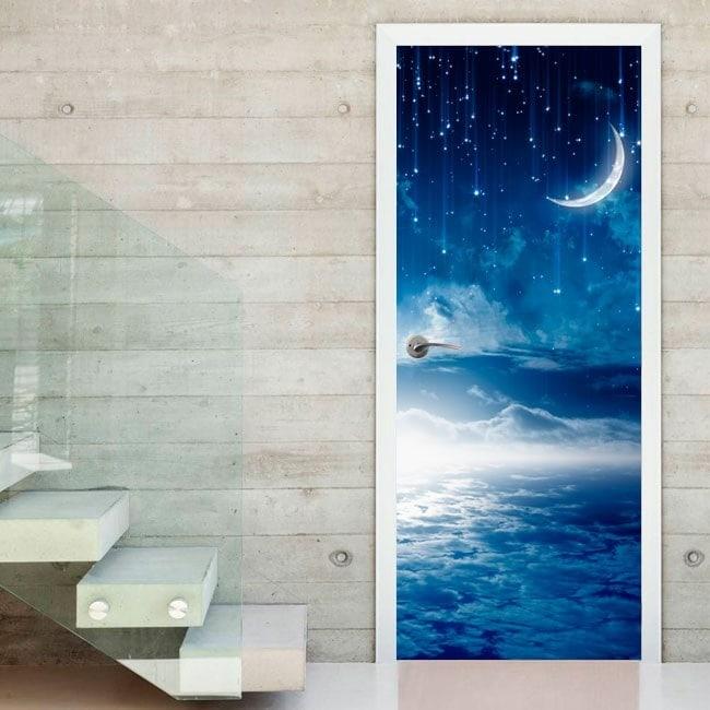 Vinyle portes nuit lune et étoiles