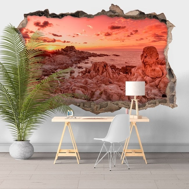 Coucher de soleil vinyle 3D Punta Molentis Sardaigne