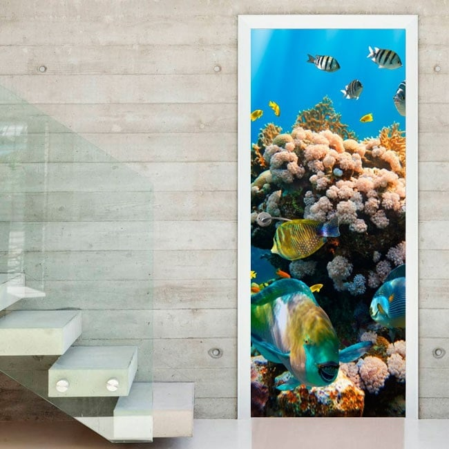 autocollants de porte et le monde marin en vinyle. Black Bedroom Furniture Sets. Home Design Ideas