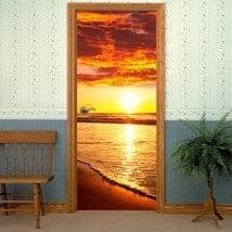 Coucher du soleil de portes décoratifs en vinyle sur la plage