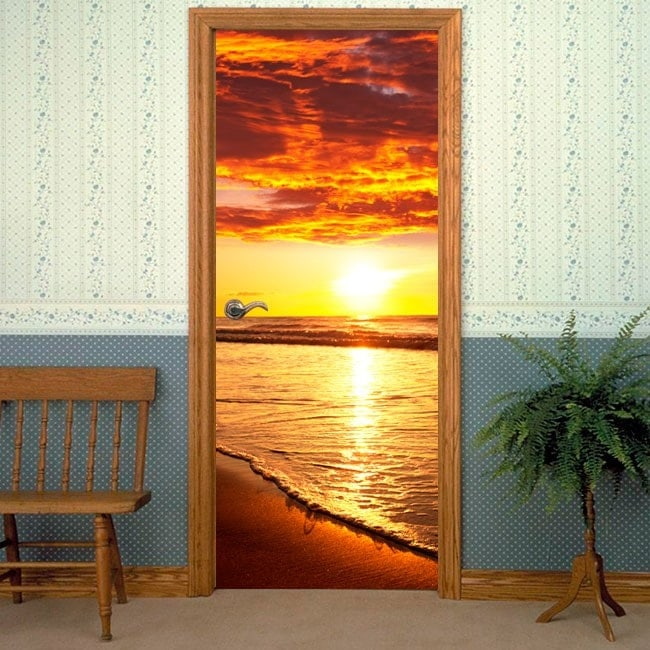 coucher du soleil de portes d coratifs en vinyle sur la plage. Black Bedroom Furniture Sets. Home Design Ideas