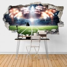 Mur 3D cassé vinyle-football-stade French 6448