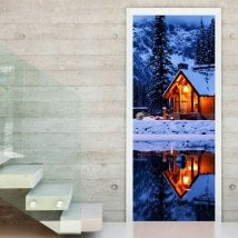Portes Mur Decal Cottage en hiver