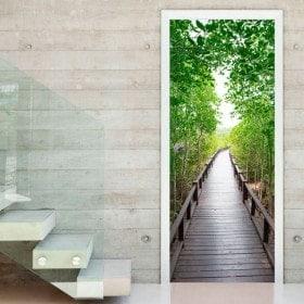 Wall Decal Porte pont dans la forêt