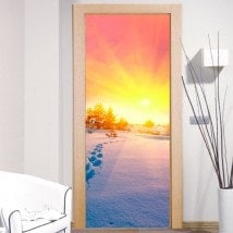 Stickers muraux Snowy Mountains Sunset Portes
