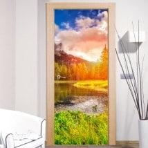 Vinyle pour portes coucher de soleil dans les Dolomites