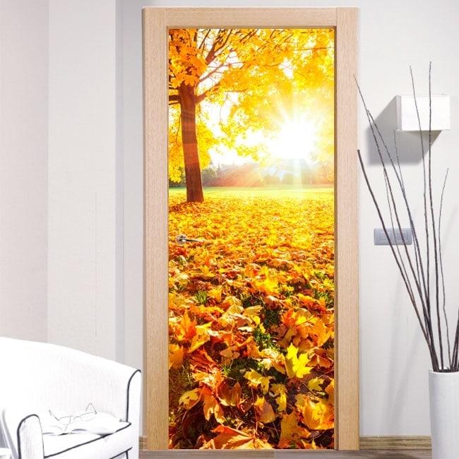 vinyle pour les portes au coucher du soleil dans le parc. Black Bedroom Furniture Sets. Home Design Ideas