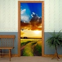 Vinyle pour les portes champ coucher de soleil
