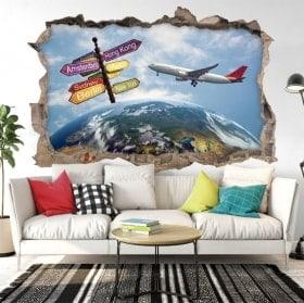 Stickers muraux 3d voyage autour du monde