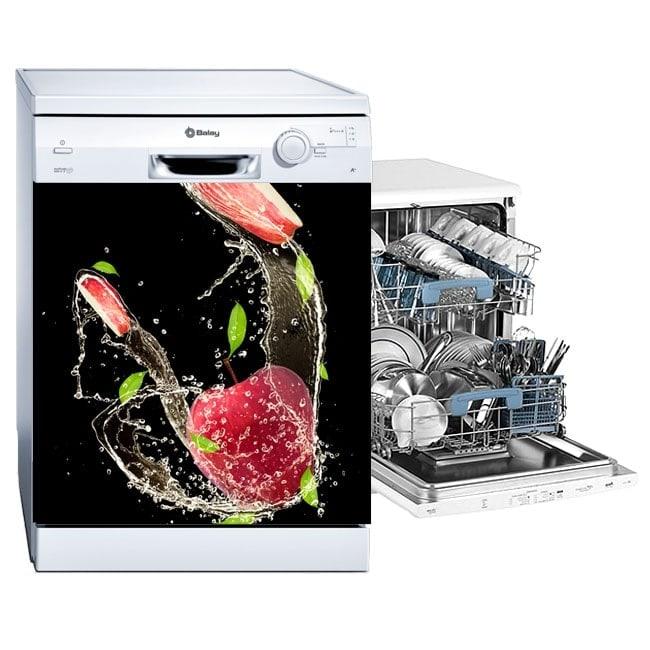 Lave-vaisselle autocollants pommes rouges