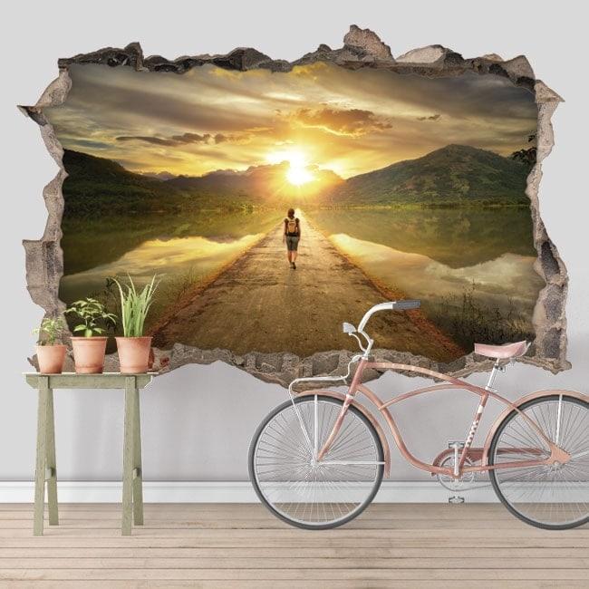 Autocollants d coratifs 3d route au coucher du soleil for Autocollants decoratifs