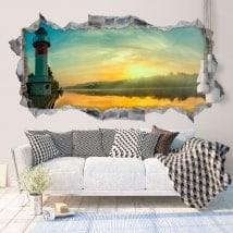Vinyle décoratif 3D lever du soleil sur la rivière
