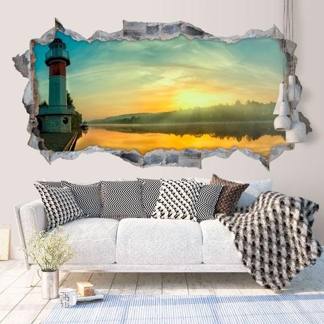Vinyle d coratif 3d lever du soleil sur la rivi re for Soleil decoratif mural