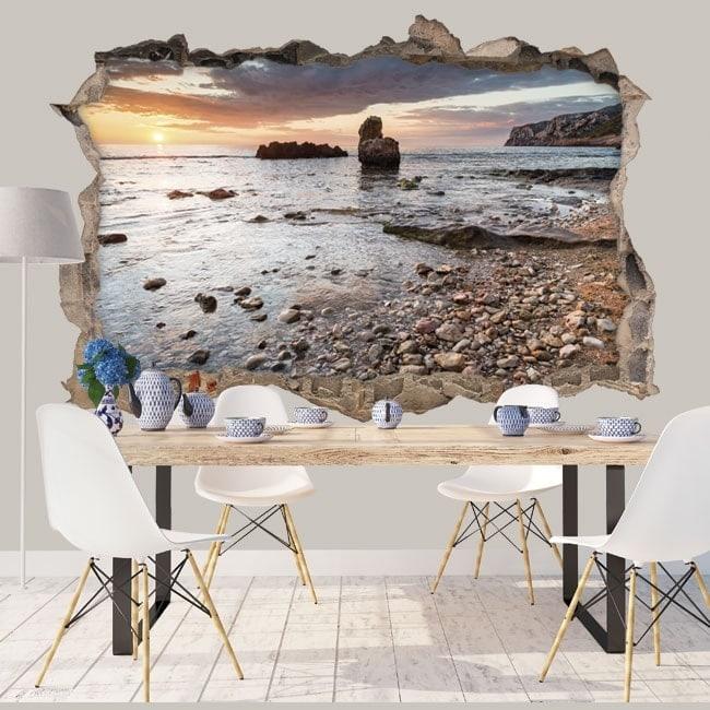 vinyle d coratif 3d lever du soleil c te m diterran enne. Black Bedroom Furniture Sets. Home Design Ideas