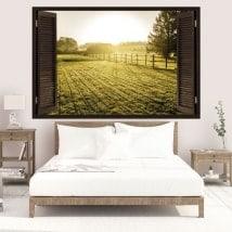 Vinyle 3D fenêtres coucher du soleil dans la prairie