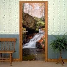 Portes décalques chute d'eau en automne