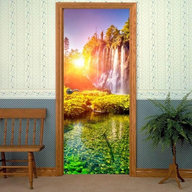 Vinyle d coratif de portes coucher du soleil dans les cascades for Soleil decoratif mural