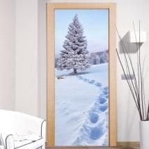 Decalques portes neige dans les montagnes