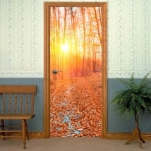 Vinyles et autocollants pour les portes coucher de soleil forêt