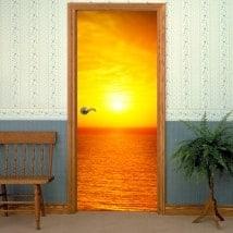 Vinyle décoratives portes coucher du soleil mer