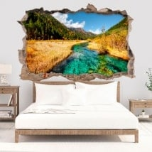 Vinyle décoratif 3D rivière dans les montagnes