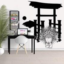 Stickers muraux Torii avec Bouddha