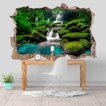 Stickers muraux 3D cascades dans la jungle