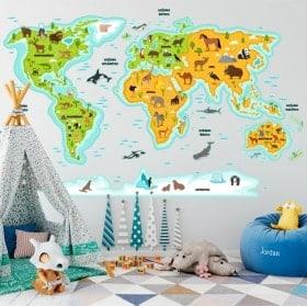 Autocollants pour enfants carte mondiale des animaux