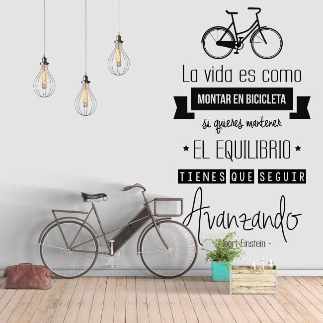 Autocollant phrase vie est comme une bicyclette