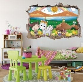 Autocollants pour enfants 3D girl and unicorn