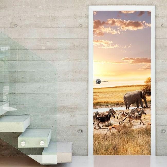 Safari animaux autocollants portes