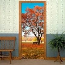 Vinyle décoratif pour portes arbre en automne