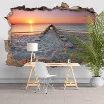 Stickers muraux 3D Beach au coucher du soleil