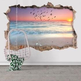 Autocollants 3D le soleil se lève sur la plage