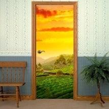 Vinyle décoratif portes Inde coucher de soleil à la campagne