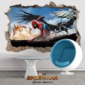 Autocollants muraux 3D spiderman homecoming