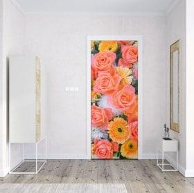 Vinyls et autocollants de porte roses et fleurs