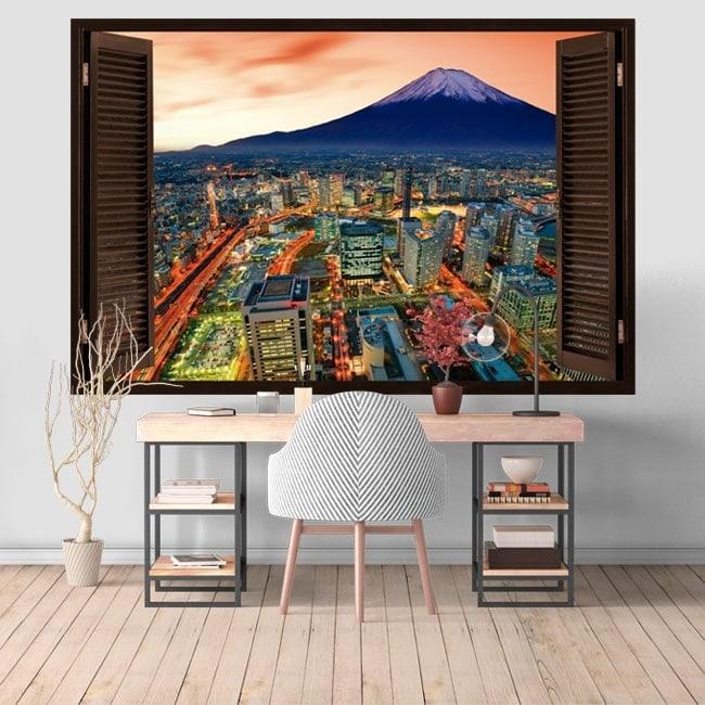 Yokohama et Mount Fuji 3D windows vinyle