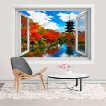 Fenêtres 3D autocollants Toji pagode à Kyoto