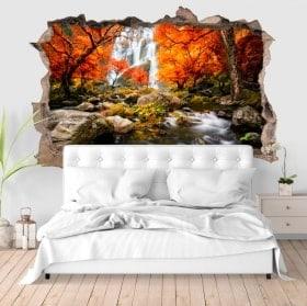 Autocollants murs cascades 3D en automne