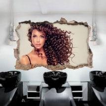 Stickers muraux salon de coiffure avec un style 3D