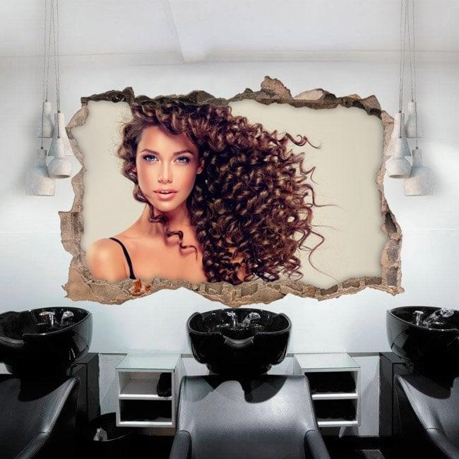Stickers muraux salon de coiffure avec un style 3d for Agencement salon de coiffure 3d
