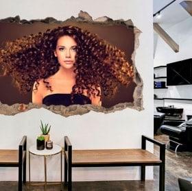 Autocollants muraux pour les coiffeurs avec style 3D