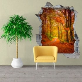 Mur vinyls route à l'automne 3D
