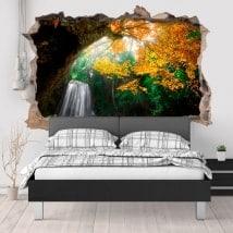 Autocollants pour murale cascade dans la forêt 3D