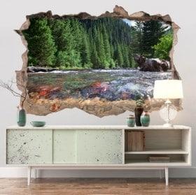 Autocollants murs montagnes du Colorado rivière 3D