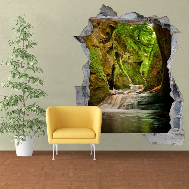 Stickers muraux Finnich Glen Scotland waterfalls 3D