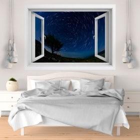 Fenêtre vinyle 3D étoiles mouvement